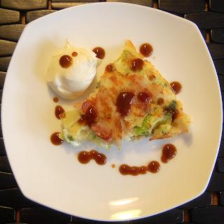 Okonomiyaki (Japanese pizza-style pancake).