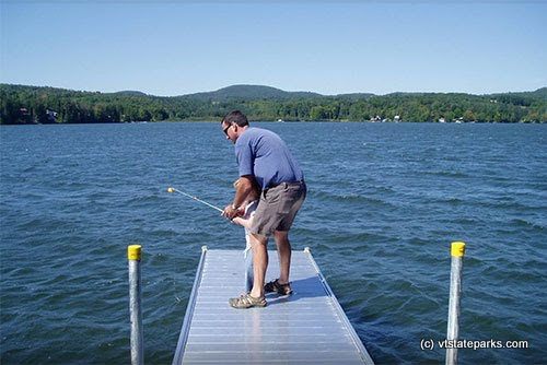 Photo: Fishing off the ramp at Stillwater State Park
