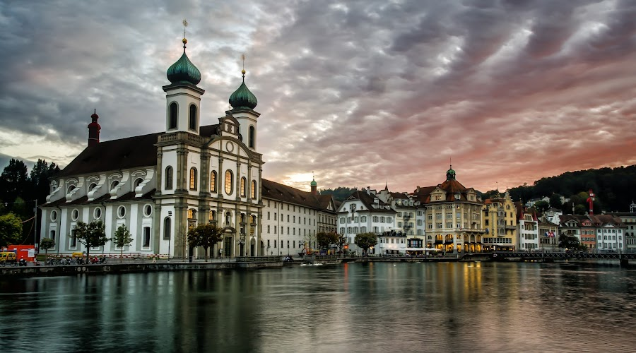 The Jesuitenkirche catherdral in Lucerne Swizerland. by Ed Vinas - Buildings & Architecture Places of Worship ( church, jesuitenkirche, switzerland, lake, cathedral, travel, lucerne )