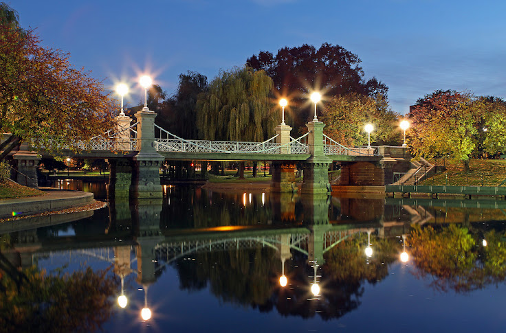 The bridge over the Boston Public Garden lagoon at dusk. Photo: Juergen Roth.