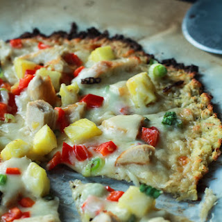 Thai Chili Chicken Pizza with Cauliflower Crust.