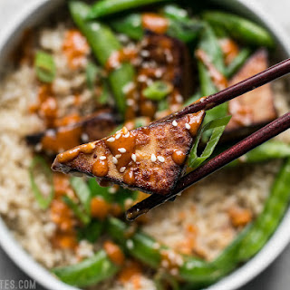 Soy Marinated Tofu Bowls with Spicy Peanut Sauce.