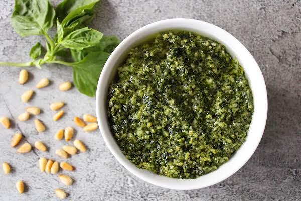 A Bowl Of Homemade Pesto.