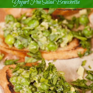 Makeover Low Fat Greek Yogurt Pea Salad Bruschetta.
