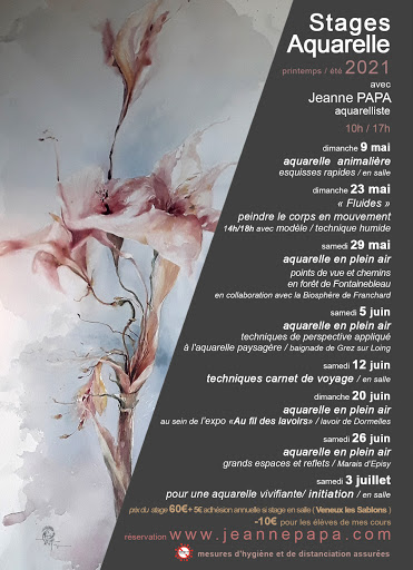 stage aquarelle mai juin juillet 2021 jeanne PAPA fontainebleau Seine et Marne