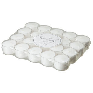 TEA LIGHTS White 20 pack 8 h 38 mm Plastic cup