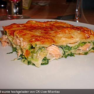 Lachs - Lasagne mit Spinat