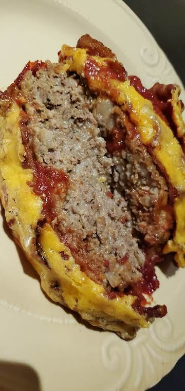 Meat Loaf with Bacon, Cheese and Brown Sugar Ketchup Glaze~Robynne