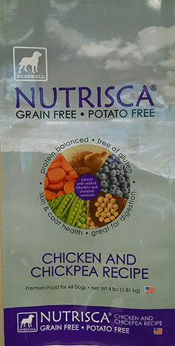 Label, Nutrisca Chicken and Chickpea Recipe dog food