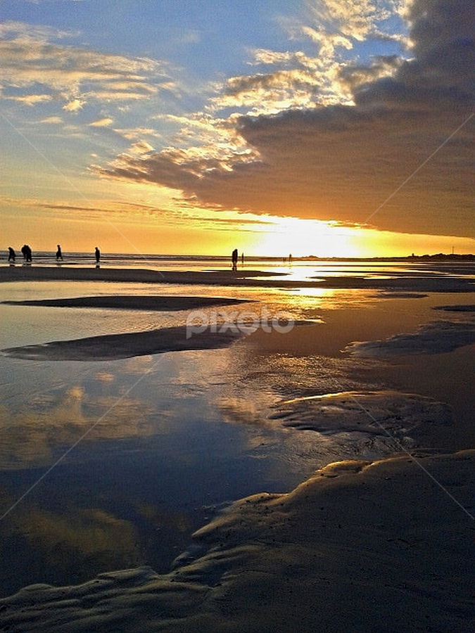 Sunset Beach by Christo Wessels - Instagram & Mobile Android ( clouds, reflection, blue, sunset, twilight, grey, yellow, beach, evening, coast )