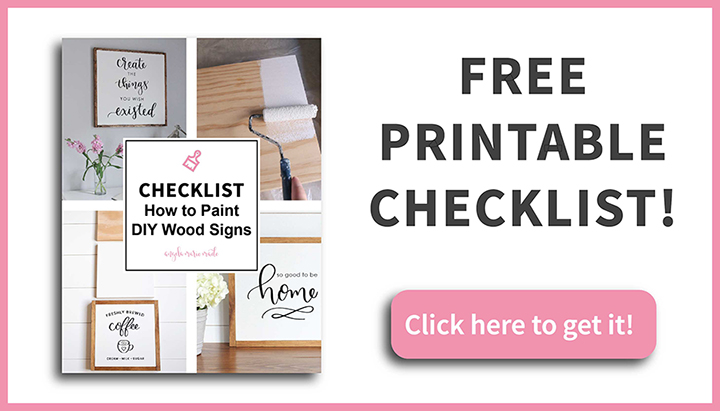 Printable checklist on how to paint DIY wood signs