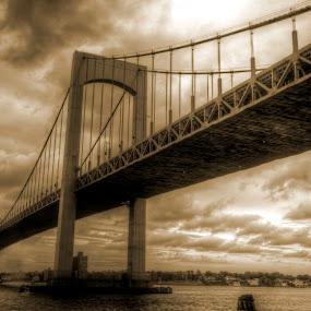 Throgs Neck Bridge by Chip Bolcik - Buildings & Architecture Bridges & Suspended Structures ( pwcotherworldly )