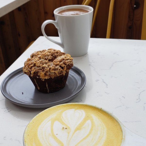 Delicious gluten free muffin and tumeric latte!