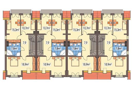Hubert 2 zestaw 4 segmentów L+SL+S+LL - Rzut piętra