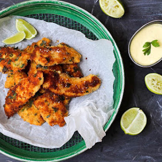 CRUMBED HERB CHICKEN WITH LIME AIOLI GLUTEN FREE