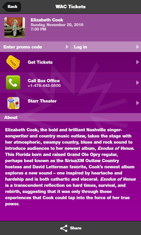 Walton Arts Center Tickets- screenshot