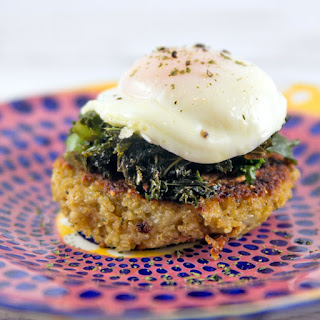 Quinoa Cakes with Poached Eggs.
