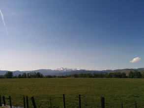 Photo: First views of the Wallowas as we approached Halfway, Oregon.