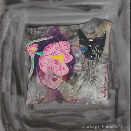 melancolie-fleurie-sophie-lormeau-peinture-acrylique-bouche-racine-fleuamoureux-lovers-lune-pink-collage-verre-rose-fleur-power-fower-enfance-artiste-art-contemporain-figuratif-singulier-colorful-dream-reve-adagp