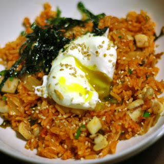 Kimchi Fried Rice with Sautéed Squid and a Poached Egg.