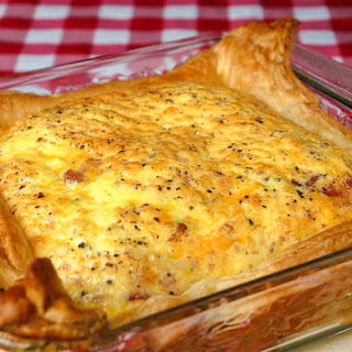 Easy Puff Pastry Bacon and Cheddar Quiche.