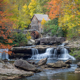 West Virginia Grist Mill by Bruce Lindman - Landscapes Forests ( foliage, fall colors, stream, waterfall, mill )