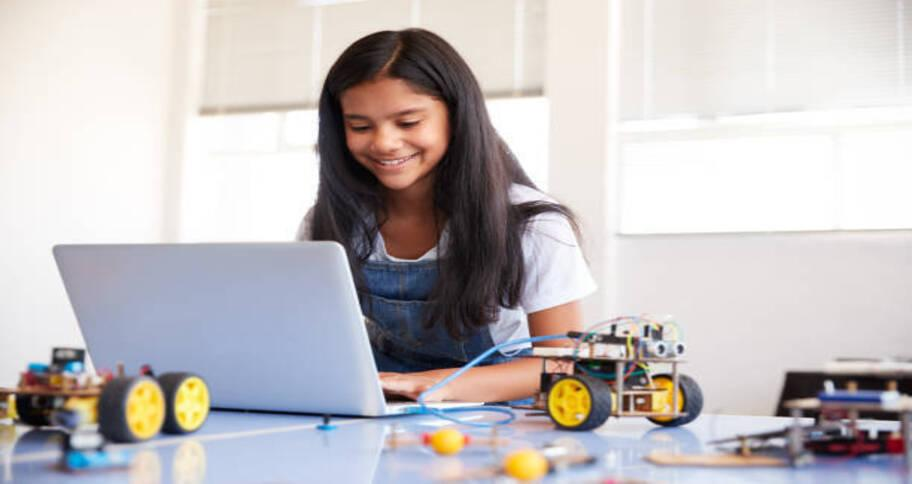 girl exploring how to study coding