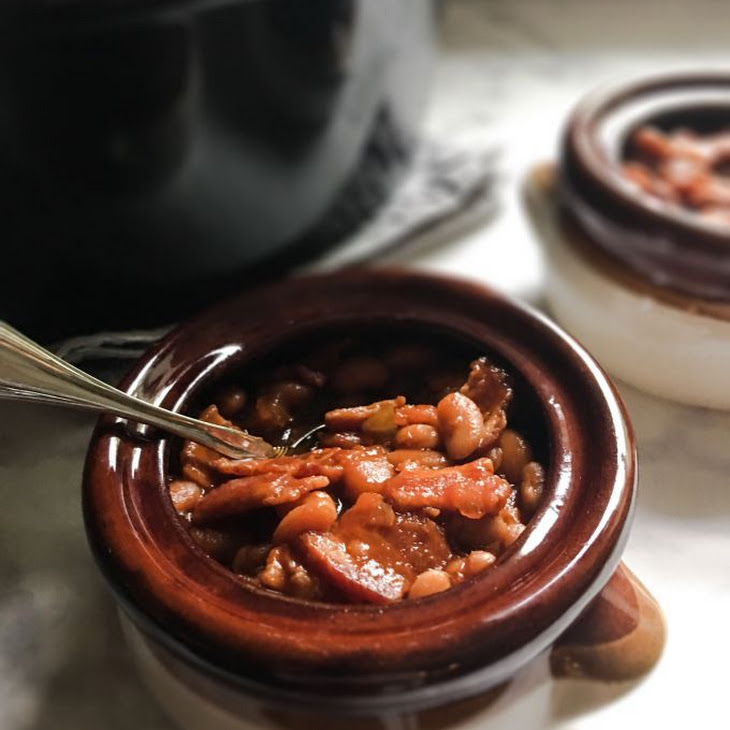 Smoky Bacon and Brown Sugar Slow Cooker Baked Beans Recipe