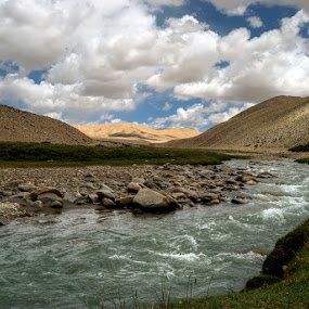 Entering the Golden Lands by Rohit Chawla - Landscapes Mountains & Hills ( changthang, mountain, himalaya, nature, glacial stream, lanscapde, cosurvivor, india, ladakh )