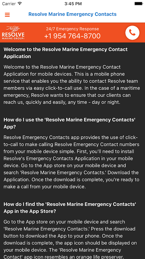 RMG Emergency Contacts- screenshot