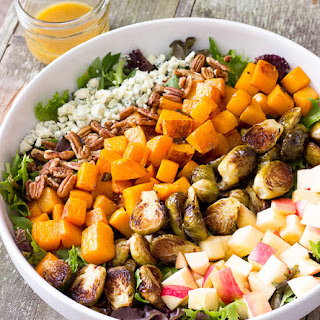 Roasted Butternut Squash & Brussels Sprouts Harvest Salad with Maple Cider Vinaigrette Recipe