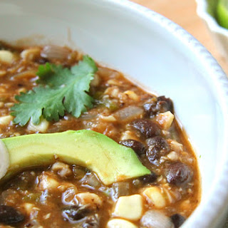 Black Bean Soup with Tomatillos and Corn.