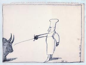 """Photo: Saul Steinberg, Senza titolo, carboncino, 1979 ca., cm 23x29. Riprodotto in """"Uovo alla kok"""". Copyright © Saul Steinberg Foundation"""