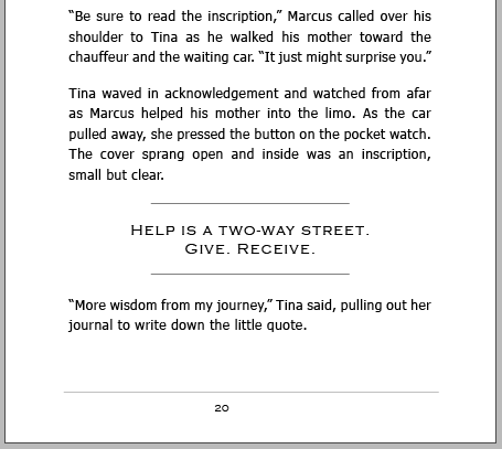 The same page as shown above, redesigned to look more like a business parable and lead the reader to absorb a lesson from the inscription
