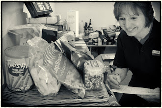 Photo: This is Lynda - She's in charge producing the hamper range for Christmashampersuk.com but she also helps out with sales at Chalkboards UK