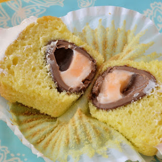 Cadbury Egg Cupcakes with Whipped Cadbury Egg Frosting