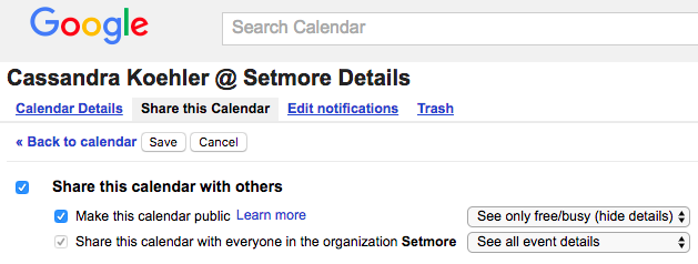 Menu options showing you how to make your Google calendar public.