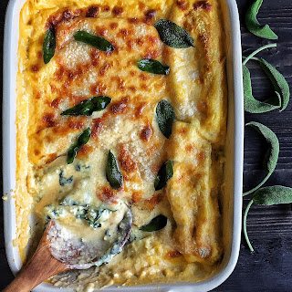 Spinach & Ricotta Cannelloni with Butternut Squash Béchamel