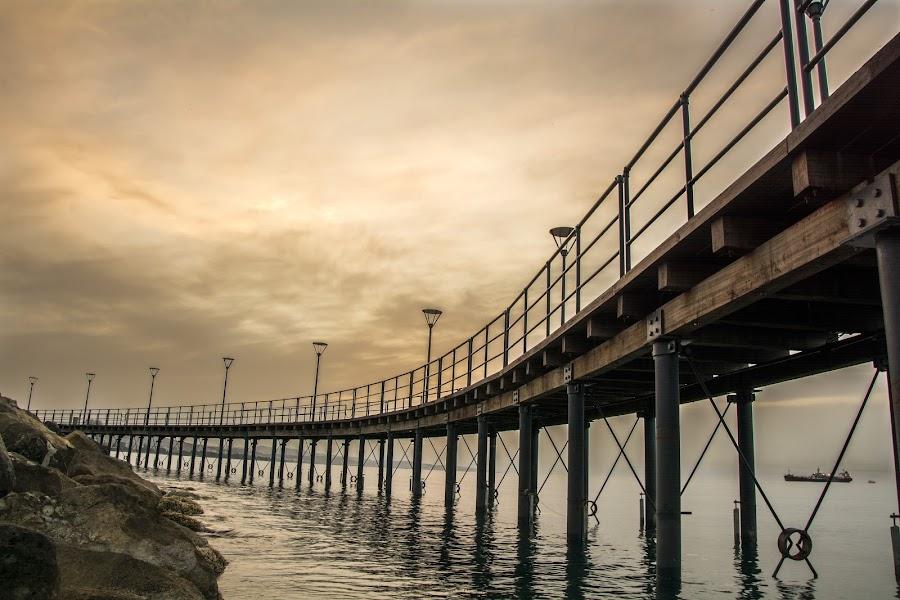 A pier in dawn  by Demetris Aipavlitis - City,  Street & Park  City Parks ( limassol, dawn, ship, sea, pier, rock, cyprus )