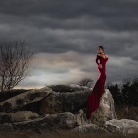 by Shawnessy Ransom - People Portraits of Women ( fine art portrait, elegance, moody sky, fine art, sunset, abandoned eart, clouds )