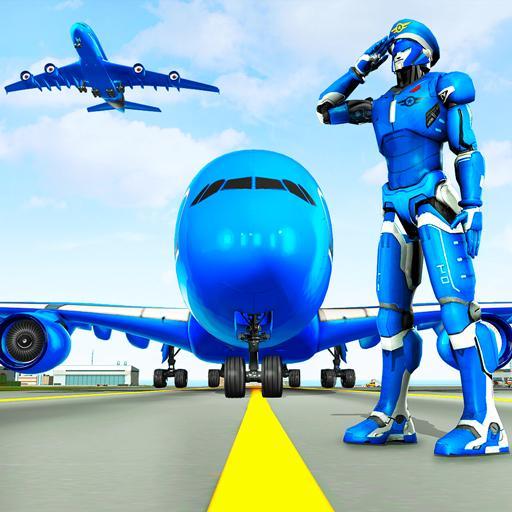 Robot airplane pilot simulator - jogos de avião
