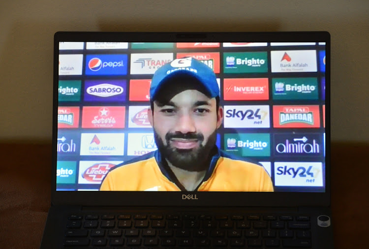 Mohammad Rizwan attends a virtual press conference during the Pakistani tour , February 7 2021. Picture: GRANT PRITCHER/GALLO IMAGES