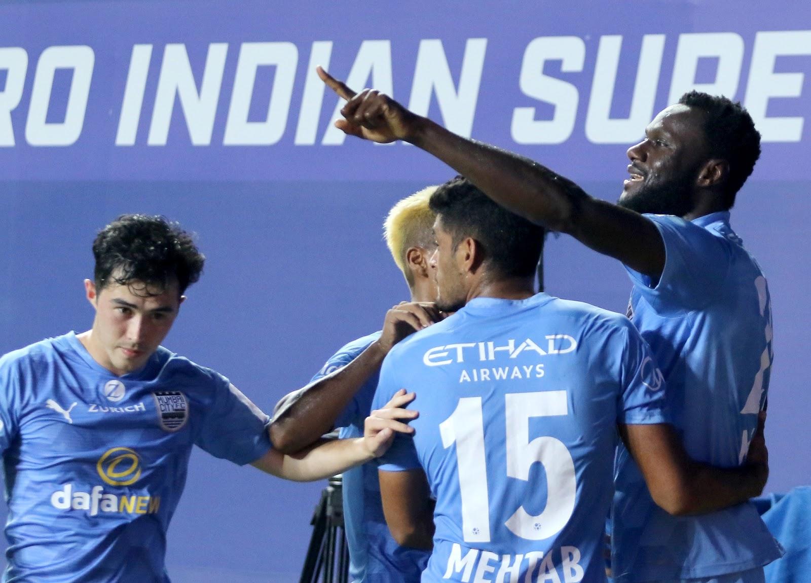 Mourtada Fall celebrating a goal earlier in the season (Image Credit: Indian Super League)