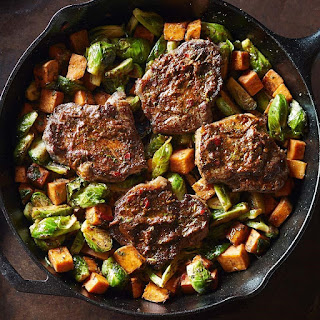 Strip Steaks with Smoky Cilantro Sauce & Roasted Vegetables.