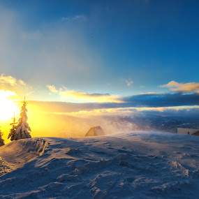 Wind on the mountains at the sunset winter by Stefan Sorean - Landscapes Sunsets & Sunrises ( snow, sunset, winter )