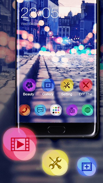 Stylish Romantic Theme: Neon Night Street Launcher- screenshot