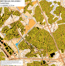 Photo: Suburban areas at the border of Helsinki and Vantaa. Map drawn with Karttapullautin (version 20120928).