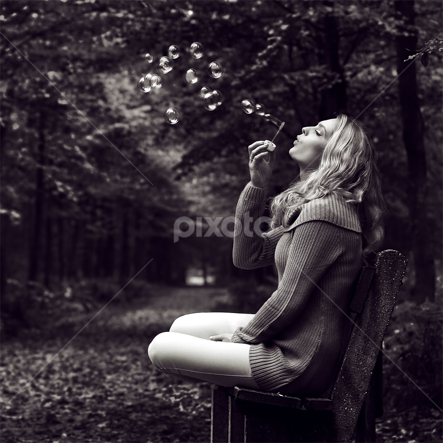 Bidding the warmth farewell by Azzeria Photography - People Portraits of Women ( bench, beauty, azzeria photography fenna muller soap bubbles autumn cold dark b&w black and white tilted bokek dof depth of field beautiful light female model blonde park bench leaf leaves sunbeam bubbles dreamy atmosphere, photography, eyes, azzeria, of, autumn, light, park, beautiful, mysterious, zeepbellen, bubbles, atmosphere, soap bubbles, forest, depth, fenna muller, field, blowing, blonde, female, soap bubble, bokehs, dof, assen )
