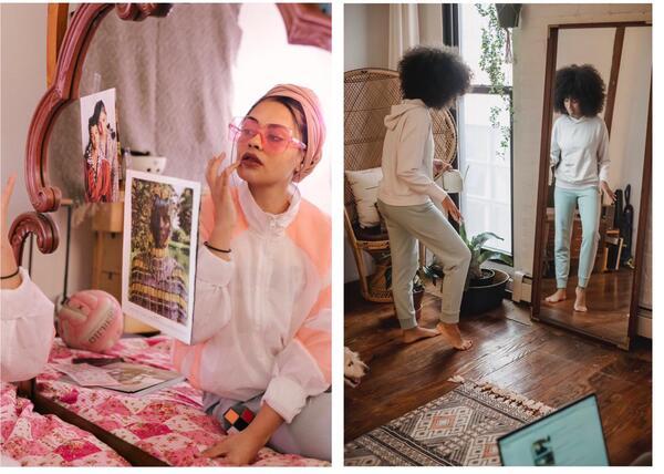 Montagem de duas fotos com uma mulher se olhando no espelho