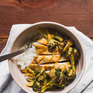 Peanut Butter Chicken and Broccoli Sheet Pan Dinner.